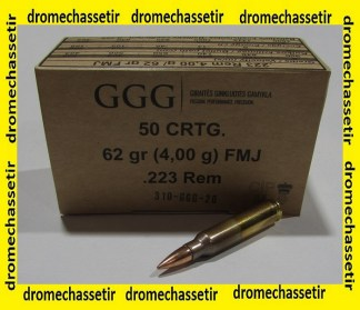 Boite de 50 Cartouches GGG, cal 223 Rem, 62 grains FMJBT