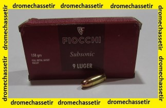 boite 50 cartouches Fiocchi, 9x19 Luger , 158 Grains FMJ Subsonic