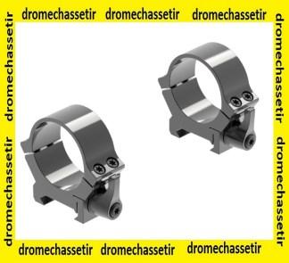 lot de 2 anneaux Leupold QRW2 serrage levier, bas , diametre 30mm, noir gloss, ref 174073