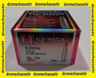 """boite de 100 ogives Hornady , cal 6,5mm(0.264""""), 130 grs ELD Match, ref 26177"""
