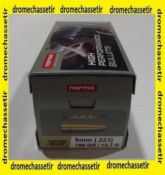 boite de 100 ogives 8mm Norma Vulkan 196 grains N68020