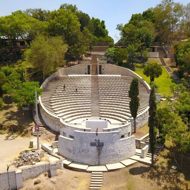 Vista aérea del auditorio en el parque mirador de Huentitán