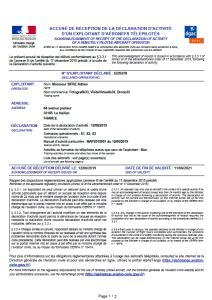Déclaration d'immatriculation de télé-pilote drone Adrien SIFRE DGAC