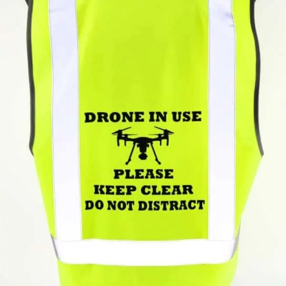 Drone Pilot Safety Vest M Series Drone in Use Close Up