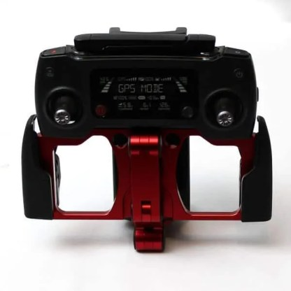 Tablet SmartPhone Holder Red Showing Attached to Remote for Small Storage Front Image