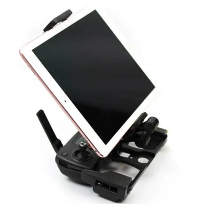 Tablet SmartPhone Holder with Aluminium Black Base Installed in Remote with full size iPad installed