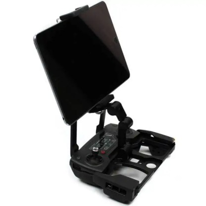 Tablet SmartPhone Holder with Aluminium Black Base Installed in Remote with iPad Mini installed