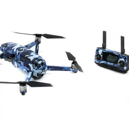 Camoflauge Blue Mavic 2 Series Drone Accessories Australia Drone Skin Wrap Drone and Remote from the rear