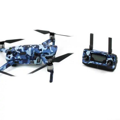Camoflauge Blue Mavic 2 Series Drone Accessories Australia Drone Skin Wrap Drone and Remote from the side