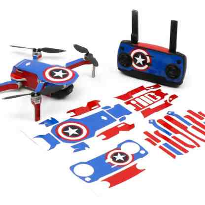 Captain America Drone Skin Wrap Stickers for DJI Mavic Mini Front View with Print Out