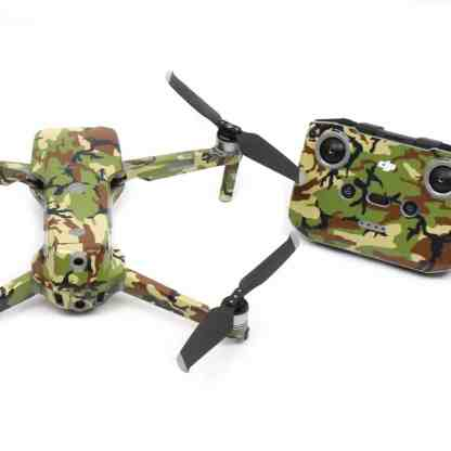 Green Camo Drone Skin Wrap Decal Stickers for DJI Mavic Air 2 Applied to Drone and Remote Rear View