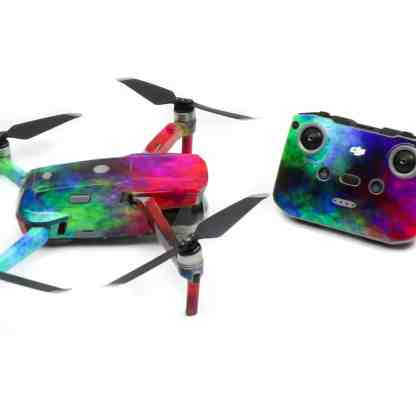Rainbow Clouds Drone Skin Wrap Decal Stickers for DJI Mavic Air 2 Applied to Drone and Remote Side View