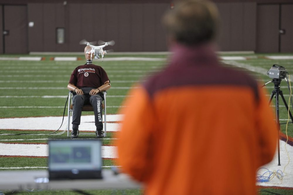 Researchers collect drone impact data at an athletics facility on Virginia Tech's Blacksburg campus