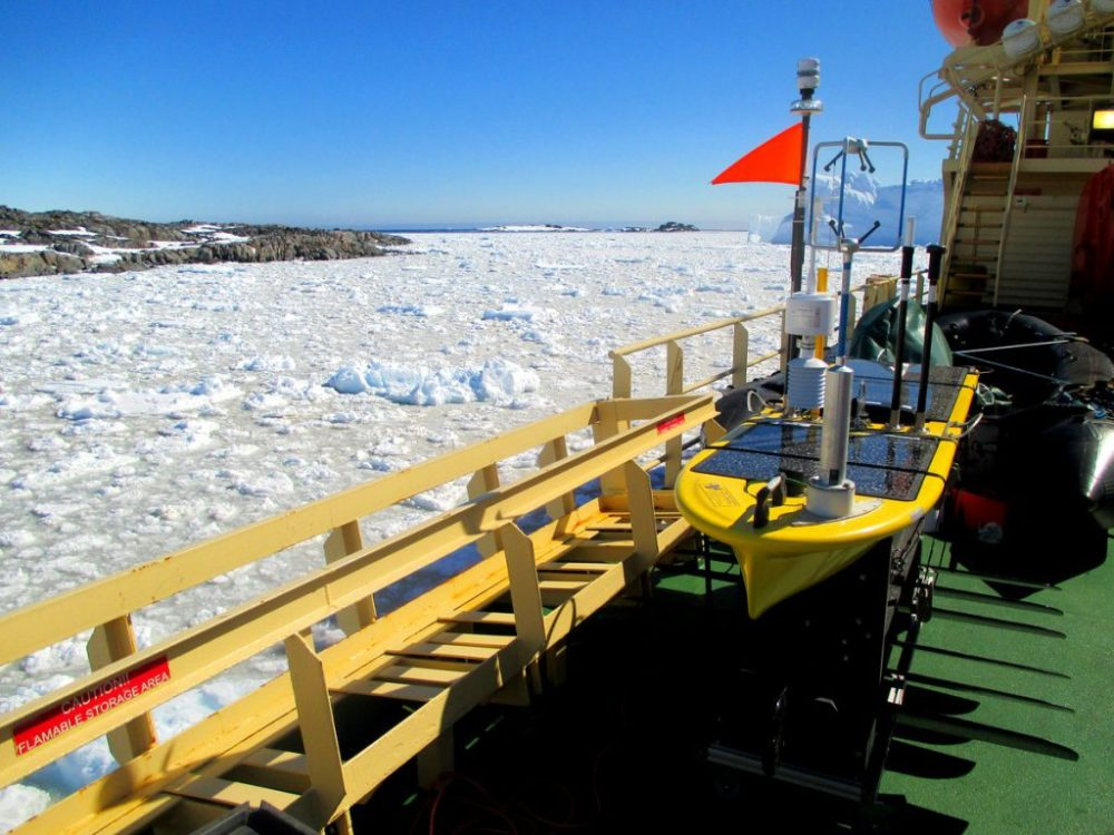 The Wave Glider near Antarctica's Palmer Station in December (that's summer for this region) before starting its epic voyage on the Southern Ocean.Avery Snyder/University of Washington