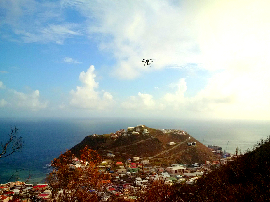 An Aeryon SkyRanger flies over a devastated Point Blanche, St. Maarten in the aftermath of Hurricane Irma.