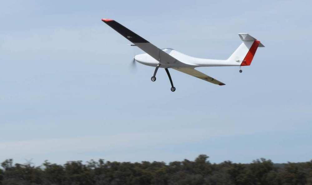 The hydrogen-powered drone in flight