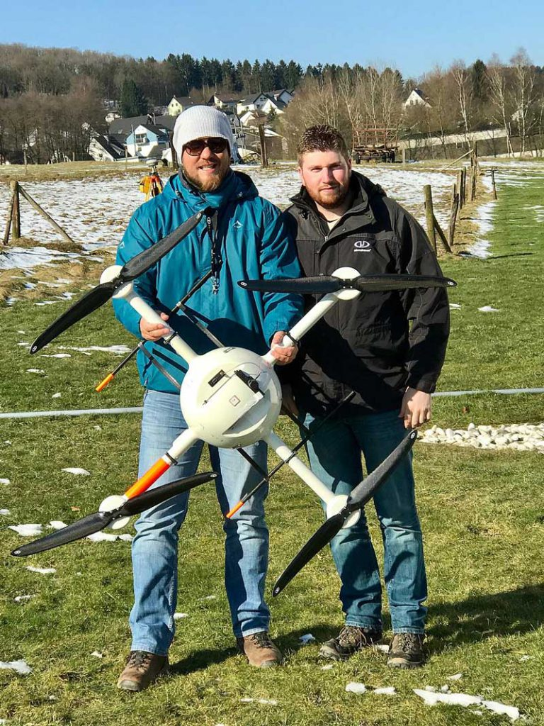 Henno Morkel, UAS Segment Specialist for OPTRON and Kevin Holighaus – Training Pilot for Microdrones, during training on multiple payloads and Microdrones UAV systems