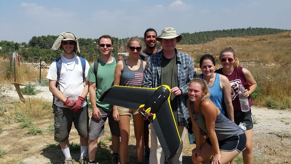 John Carroll and Oakland University students use a drone on an archaeological dig in Israel