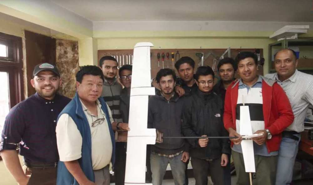 The drone development team with Mahabir Pun at the National Innovation Centre | Nepali Times/Youtube