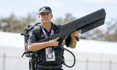 Image: Queensland Police Service officer with DroneGun MKIITM during Commonwealth Games in Brisbane in April 2018