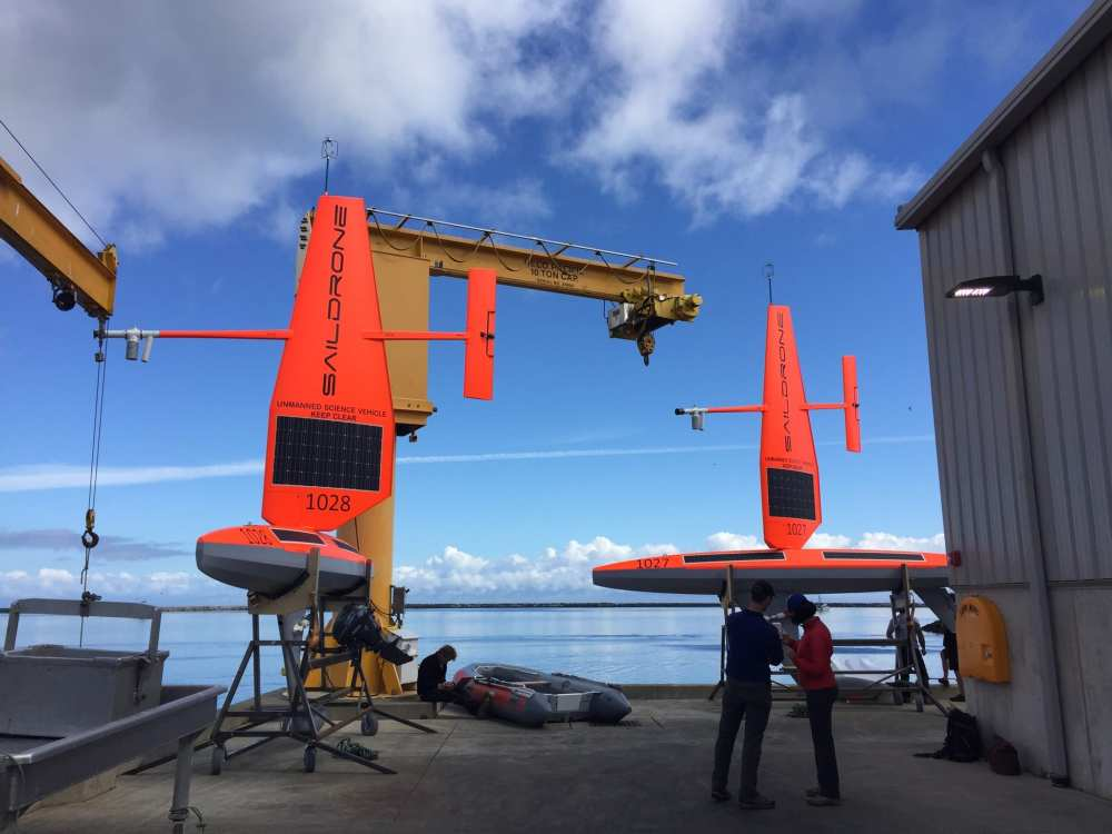 Technicians prepare the first two Saildrones for launch from Neah Bay, Wash | NOAA Fisheries/NWFSC
