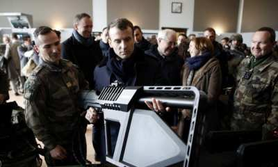 French President Emmanuel Macron inspecting the DroneGun at French Army Camp Mourmelon | DroneShield