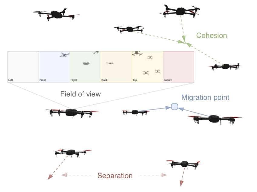 Vision-based flock of nine drones during migration. Our visual swarm controller operates fully decentral- ized and provides collision-free, coherent collective motion without the need to share positions among agents. The behavior of an agent depends only on the omnidirectional visual inputs and the migration point (blue circle and arrows). Collision avoidance (red arrows) and coherence (green arrows) between flock members are learned entirely from visual inputs.