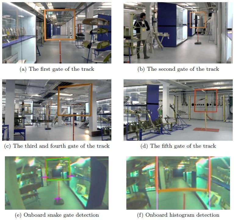 Five gates are placed in a dense obstacle track. The gates are placed in narrow corridors and are surrounded by dense obstacles such as aircraft aps, rudders and yokes. The rst two row images are the environment around the gates and the last row are the onboard images with detection results.