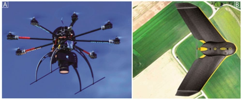 Drone systems: (A) The Tecnikopter (B) eBee.