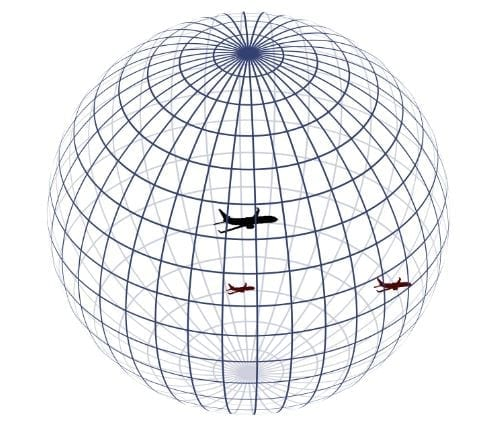 Perception zone of the black airplane (at the center of the sphere), perceiving two other airplanes