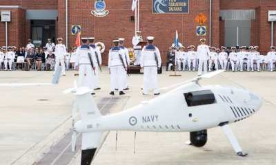 Royal Australian Navy officers and sailors of 822X Squadron on parade during the commissioning ceremony at HMAS Albatross