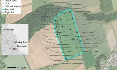 est field at Cockle Park, Northumberland, north‐east England. Flight lines (for Flight 1 only), location of GCPs, check points and the GPS reference station are shown. Background image: Google Earth.