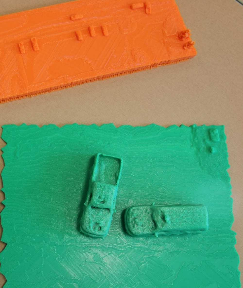 3D prints of accident scenes can help law enforcement and first responders better study and document vehicular crash scenes. (Erin Easterling/Purdue University)