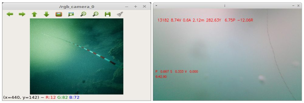 The underwater ROV sees its own tether in the camera view. On the left is an image taken from our simulation and on the right an image taken from one of our dives with the OpenROV in Port Levy, New Zealand.
