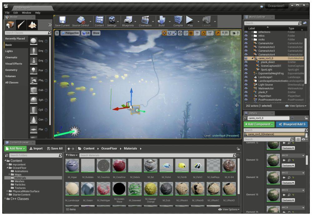 Unreal Engine 4 editor environment.