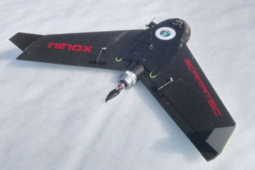The battery‐powered fixed‐wing UAV BORMATEC Ninox after landing on a snowfield on King George Island.