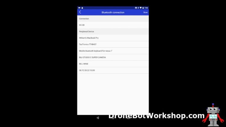 Elegoo Bluetooth App Connection Screen