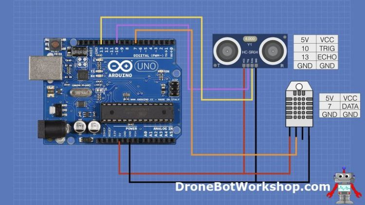 HC-SR04, DHT-22 and Arduino Hookup