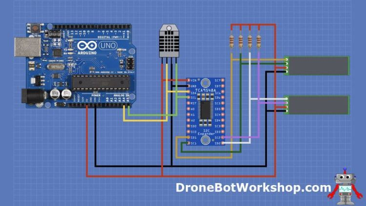 TCA9548A Module with Arduino and two displays