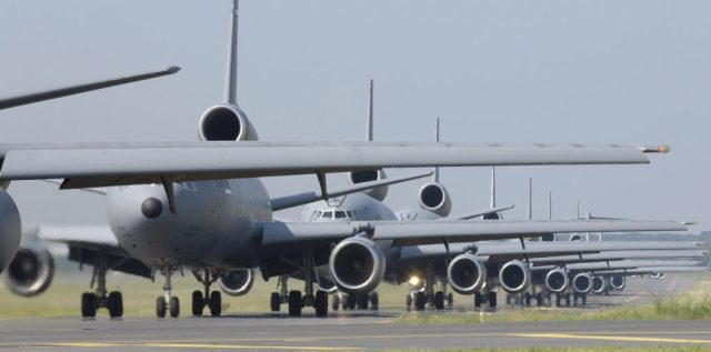 KC-10 Extenders and C-17 Globemaster IIIs from McGuire Air Force Base, N.J., taxi down the flightline during the emergency response exercise Elephant Walk. This is the first time C-17s and KC-10s have been paired in an exercise. Sixteen aircraft launched from McGuire on Friday, June 30, as part of the exercise. (U.S. Air Force photo/Brian Dyjak)