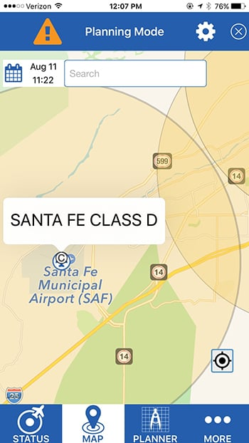 Screen shot B4UFLY, Santa Fe Municipal Airport