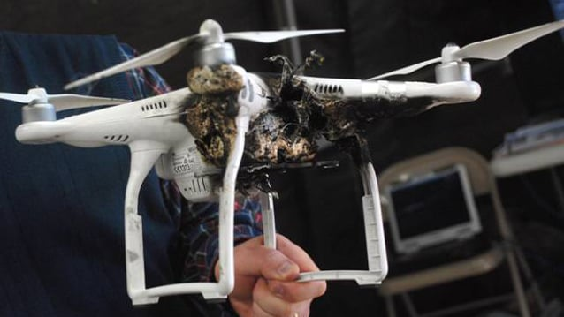 photo of drone destroyed by laser