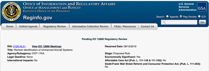 RID to OIRA pending regulatory review
