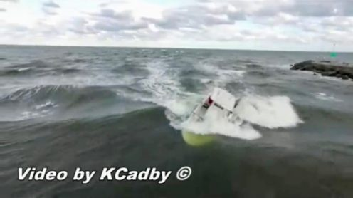 Drone captured video of a boat capsizing in Jupiter Inlet