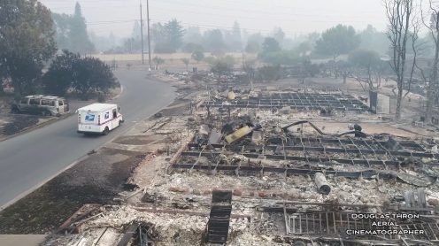 Drone video: USPS postman delivers mail in burned down Santa Rosa neighborhood0000
