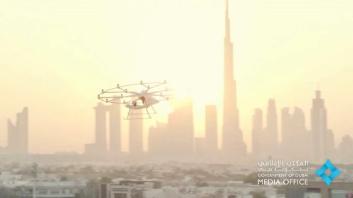 "Dubai has had their first test-flights with the drone, called the Autonomous Air Taxi (AAT). The city claims that the vehicle will be the world's first ""self-flying taxi service."" The AAT was supplied by the German manufacturer Volocopter and offers an environmentally friendly, fully electric 'cab flight'. The prototype has a maximum flight time of 30 minutes at a cruising speed of 31 mph. Its maximum speed is 62mph."