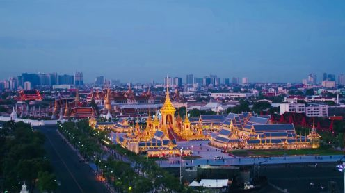 Last year on 13th October 2016 King Bhumibol of Thailand passed away. He was Thailand's most revered King in living memory and the nation's sorrow has been overwhelming. Now a year later, the Royal Cremation Ceremony of His Majesty King Bhumibol Adulyadej is taking place in Bangkok, Thailand andthe Royal Ceremonial Division released this official drone video clip with never seen before drone footage of the Royal Funeral Site including, the Southern end of the Grand Palace and the Temple of the Reclining Buddha. Quite spectacular.