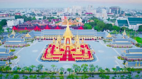 Last year on 13th October 2016 King Bhumibol of Thailand passed away. He was Thailand's most revered King in living memory and the nation's sorrow has been overwhelming. Now a year later, the Royal Cremation Ceremony of His Majesty King Bhumibol Adulyadej is taking place in Bangkok, Thailand and the Royal Ceremonial Division released this official drone video clip with never seen before drone footage of the Royal Funeral Site including, the Southern end of the Grand Palace and the Temple of the Reclining Buddha. Quite spectacular.