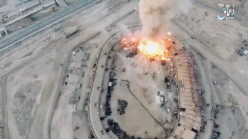 Today this video surfaced, in which ISIS uses a drone to drop a grenadeatan ammunition depot west of Mayadeen, Syria and eventually blows the whole place up.