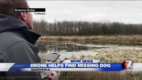 A Marshfield couple is thankful to be reunited with their dog after it was lost in a large marsh for three days.